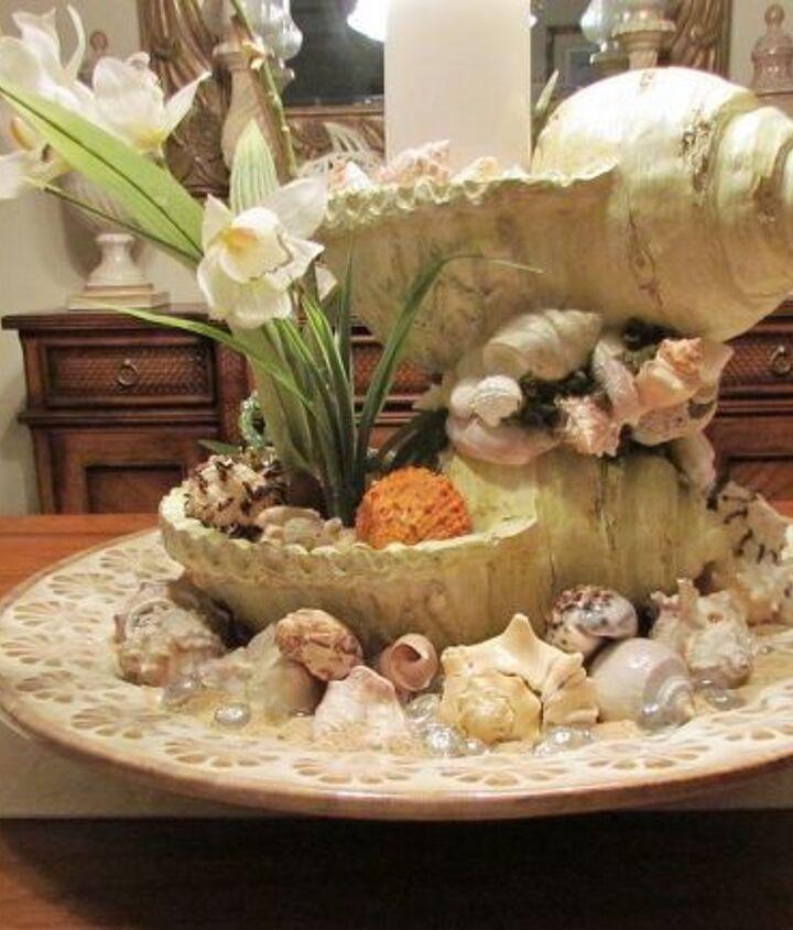 sea shell centerpiece, crafts, home decor