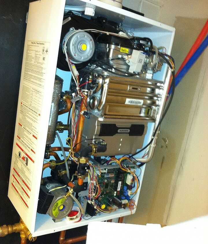 This is the insides of a new tankless hot water heater.