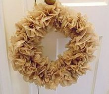 brown plastic bag wreath, crafts, repurposing upcycling, wreaths