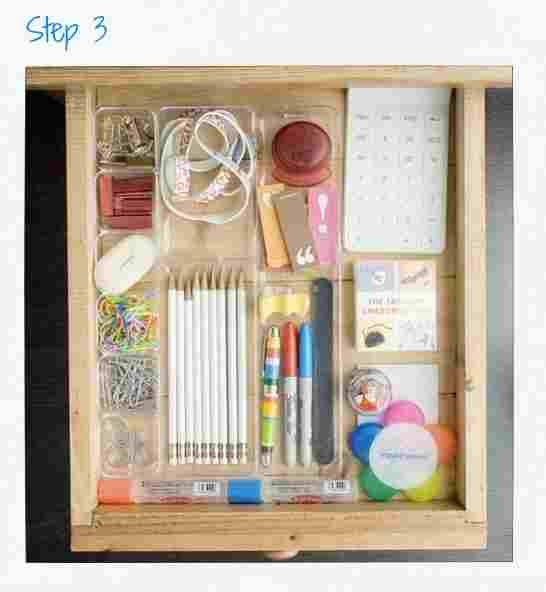 Step 3: Give your junk some borders.  Take the measurements of your drawer (width, length, and height) so you can buy the right container that will fit inside, you can buy inexpensive plastic multi-uses that comes with different sized