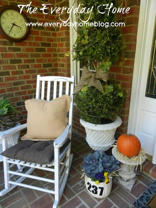 My front porch dressed in Fall finery.