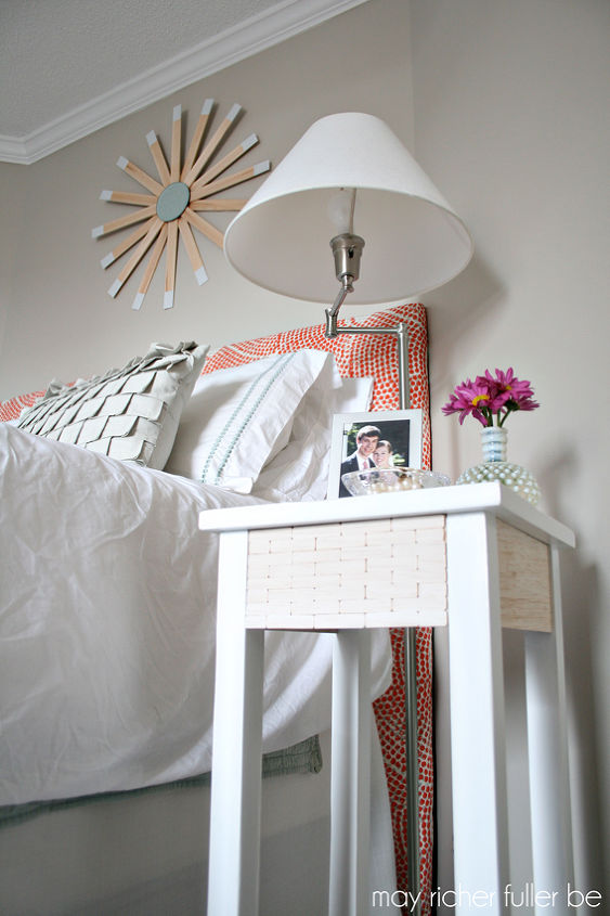 west elm wood tile inspired bedside table makeover, bedroom ideas, home decor, painted furniture
