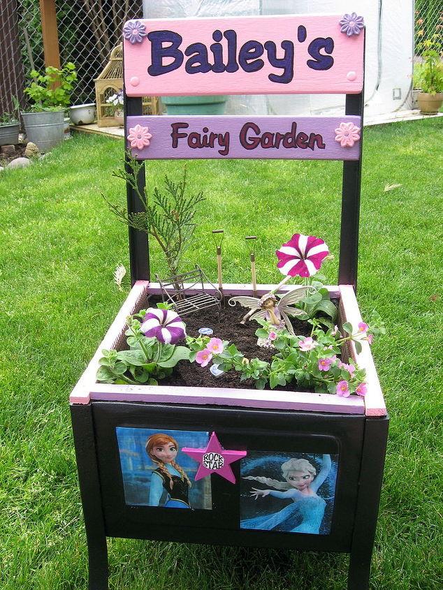 old desk fairy garden, gardening, painted furniture