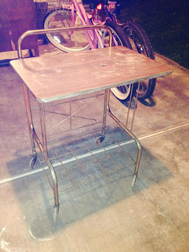 3 00 score what would you do to this cutie, painted furniture, repurposing upcycling, Laminated top with the clear wheels