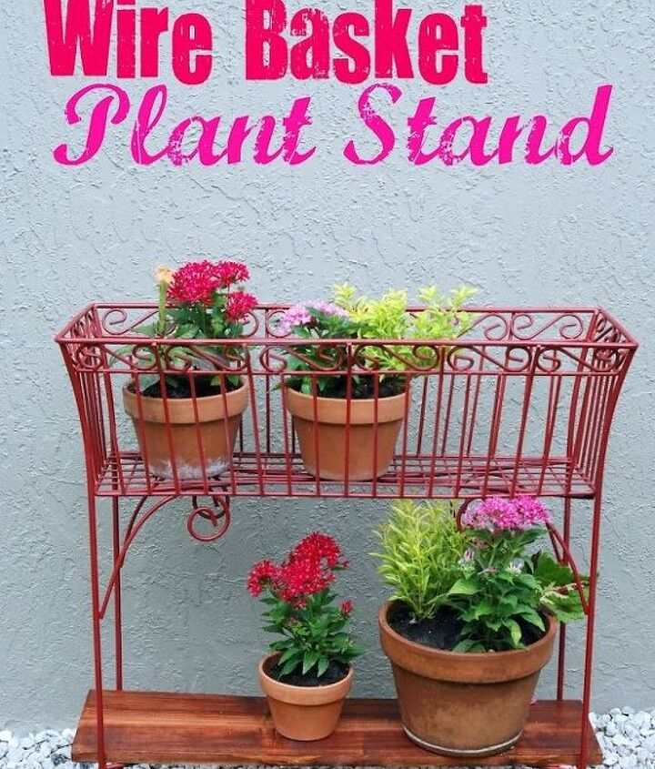 Finished project!   See the full tutorial here: http://sewwoodsy.com/2012/08/revamped-wire-basket-plant-stands.html