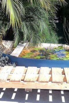 my shipwreck water lily pond, diy, flowers, gardening, outdoor living, pallet, repurposing upcycling, The completed boat water garden