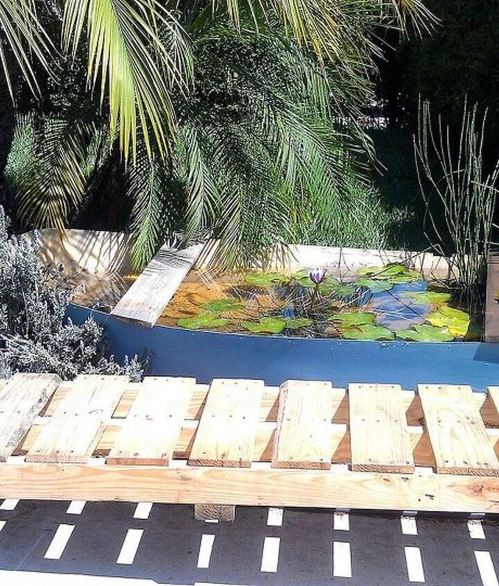 The completed boat water garden.