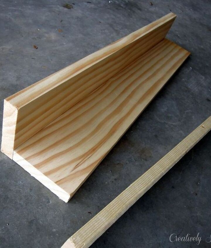 Using a brad nailer or finishing nails, attach two 1x4's together and attach the 1x2 to the front to make the ledge.