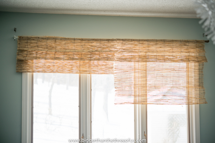 diy bamboo blinds out of outdoor fencing, diy, home decor, repurposing upcycling, window treatments, windows, Complete the first window and then start on the second making sure to keep the folds the same so that it looks like one big bamboo shade
