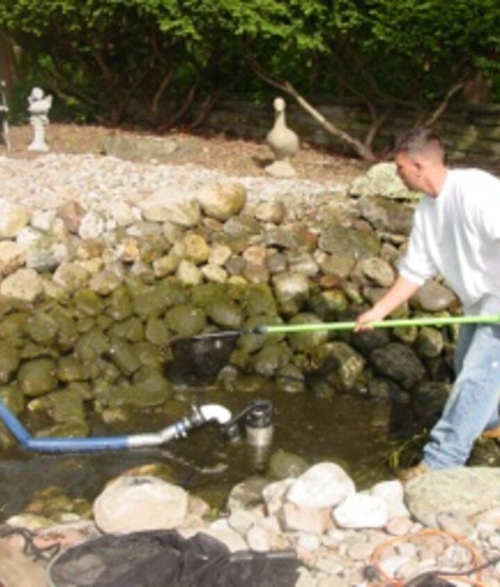 First, drain the pond down to a few inches and pump some of the water into a storage tank for the fish. Now, we can catch the fish more easily, place them in the tank and cover them up. This is a good time to check your pond lighting.