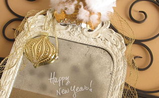 new years eve the party s over, seasonal holiday decor, Happy New Year written in white paint marker easily wipe off from mirror or glass
