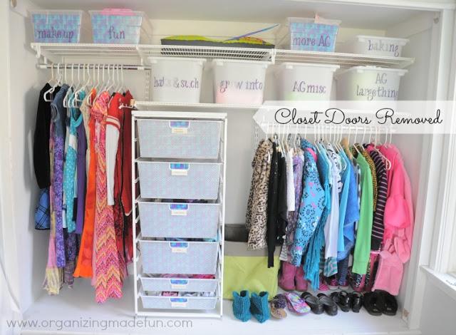 Daughter's organized closet