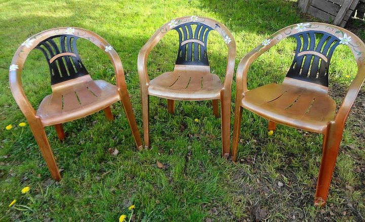 These are 3 of the painted chairs I ran out of paint and had to finish the fourth chair later.