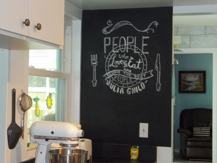 chalk board art on kitchen wall, chalkboard paint, crafts, home decor, kitchen design