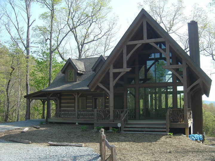 don t ever use chlorine bleach to clean wood it is highly alkaline and will raise, cleaning tips, flooring, Log TimberFrame Hybrid home in NC