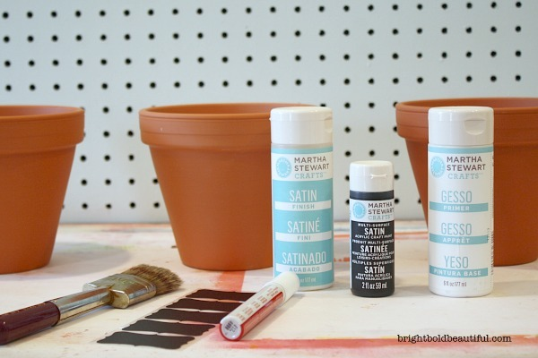 What you need:  Clay pots. I used 6″ clay pots. Martha Stewart Crafts Gesso – white Martha Stewart Crafts Acrylic Craft Paint – Beetle Black Martha Stewart Crafts Satin Finish Chalkboard Stickers Chalk marker – I used Craft Smart broad tip – white