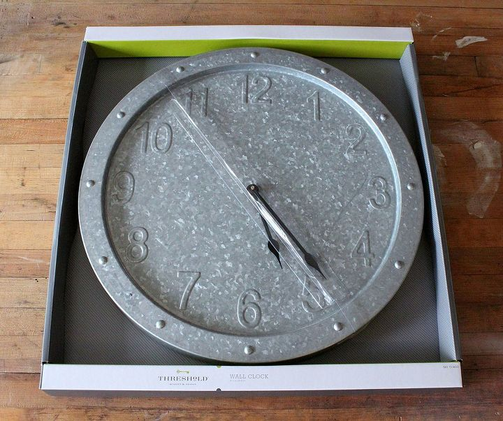 aging a galvanized clock, crafts, Target galvanized clock from the Threshold line