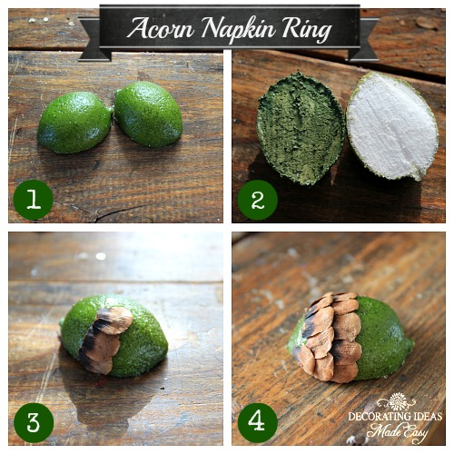 1. Cut your lime in half. 2. Paint the inside of the lime. 3. Begin adding your pine cone seed in the middle of the lime. 4. Continue all the way to the top, overlapping the pine cone seeds.