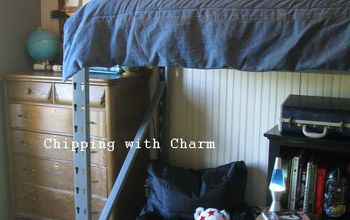 """Re-purposed Pallet Racking to Lofted Bed...""""Little Man Cave""""..."""