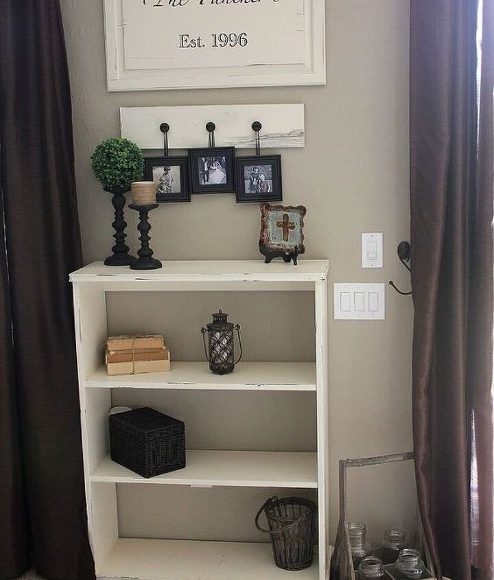 We took our old bookcase that we had for years and gave it a cheap update.