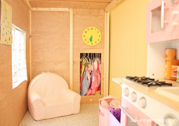 """""""Secret"""" closet, cut out of the top stair, for her to hang up her princess dresses."""