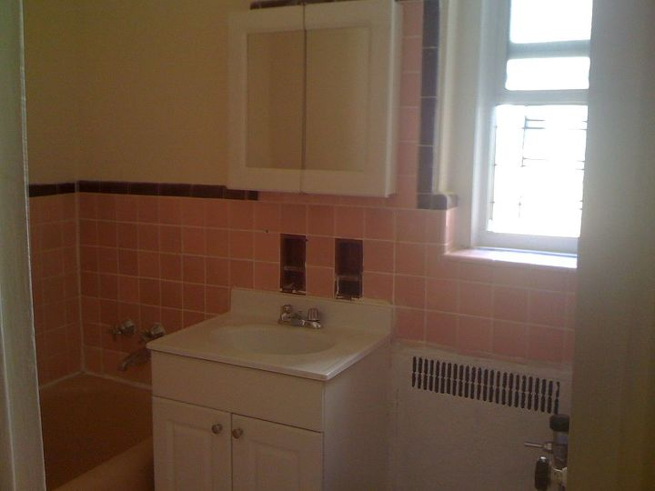 Pink Tile And Builder Grade Vanity Maroon Accent