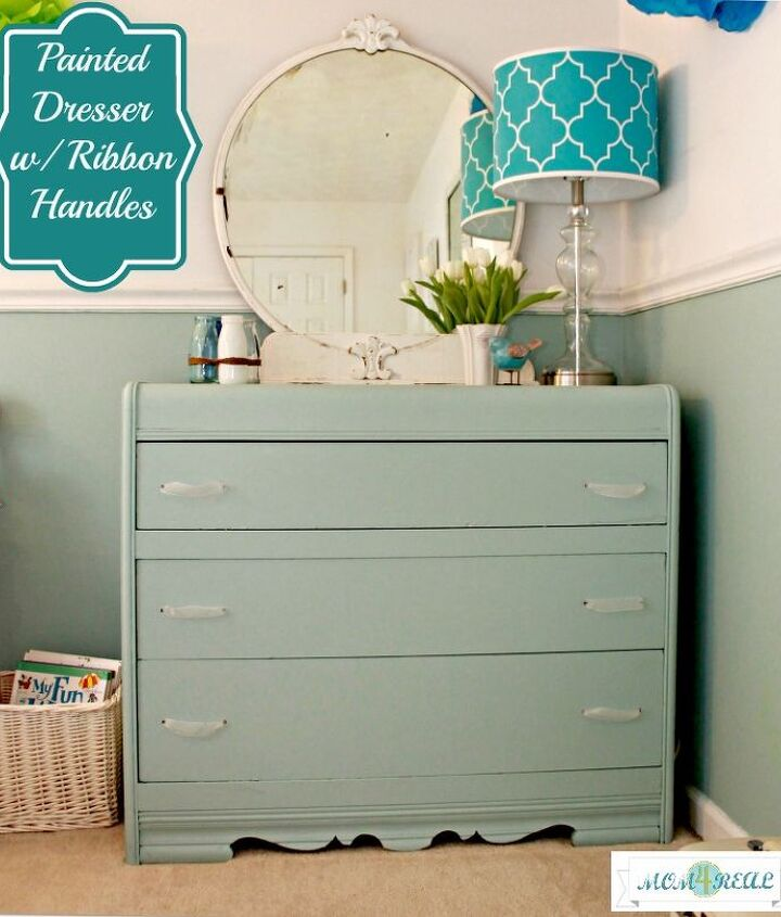 aqua dresser with ribbon pulls trash to treasure, home decor, painted furniture