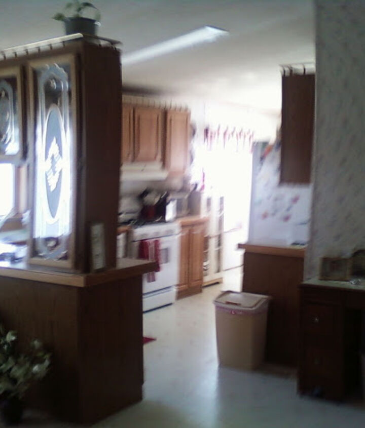 Before. Different shot, same kitchen and dining room, notice the LOVELY floral wall..ugh.