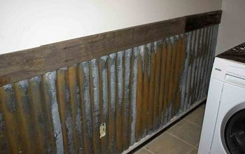rusty tin wall, repurposing upcycling, wall decor, My laundry room wall treatment