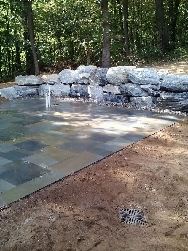 flagstone patio and outdoor living space phase 1, concrete masonry, landscape, outdoor living