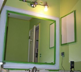 Old Bathroom Mirror Makeover Decorative Paint Frame Without Mirror Removal,  Bathroom, Painting, I
