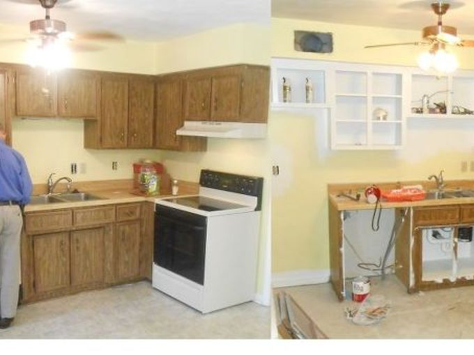 kitchen cabinet facelift, diy, kitchen cabinets, kitchen design, Before and during