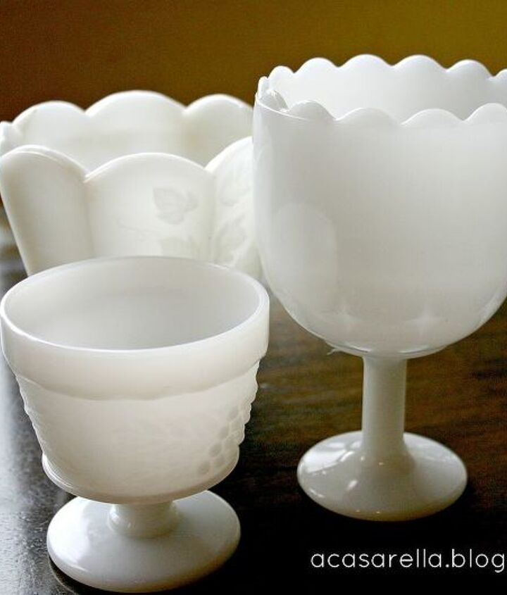 Start with milk glass (preferably inexpensive, thrifted milk glass...)