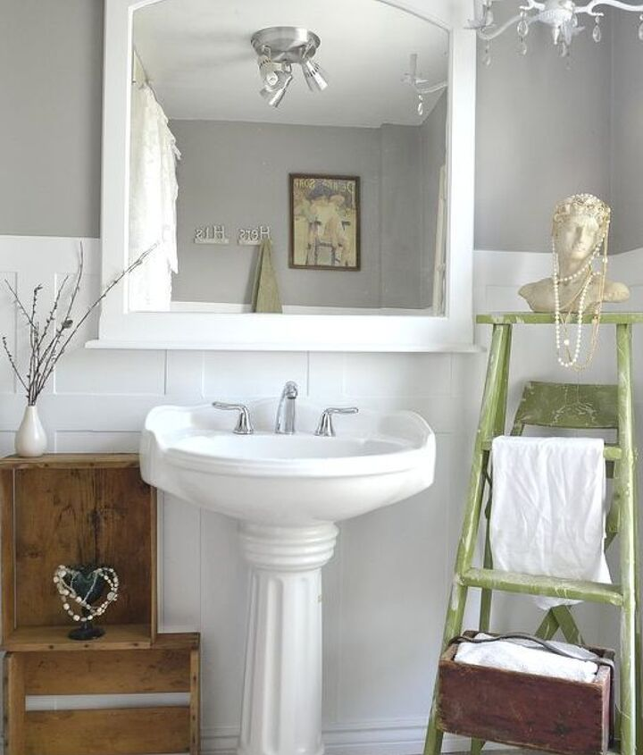 The finished look by the sink, blogged @ http://gypsy-barn.blogspot.ca/2012/08/14800-bathroom-makeover.html Photo credit - http://www.glimpseimaging.ca/#page_1/