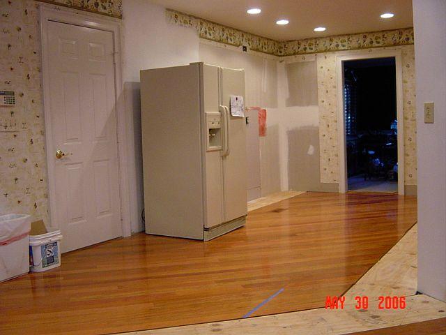 Kitchen stripped, floor installed