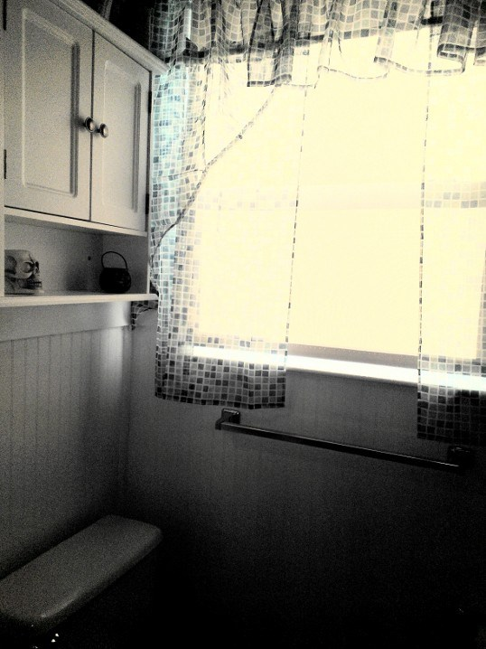 new curtains and over the toilet cabinet