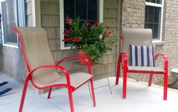 how to spray paint outdoor chairs, outdoor furniture, painted furniture, Don t the chairs just pop now and add a happy note to our new porch