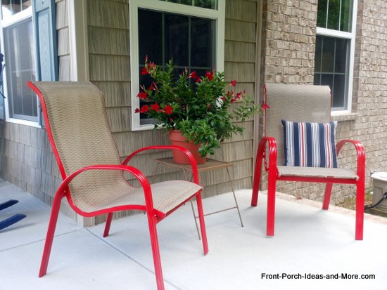 Don't the chairs just pop now and add a happy note to our new - How To Spray Paint Outdoor Chairs Hometalk
