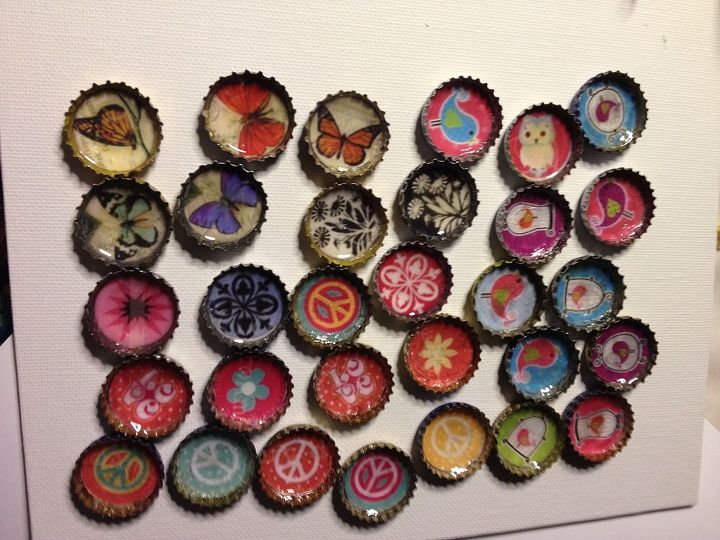 bottle cap pendants, crafts, repurposing upcycling