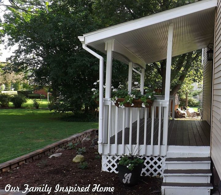 side porch outside reveal and rock garden, curb appeal, diy, flowers, gardening