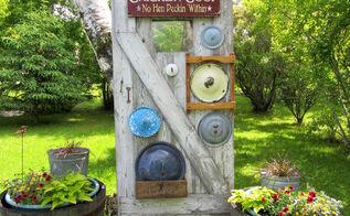pot lid garden junk decor, gardening, outdoor living, repurposing upcycling