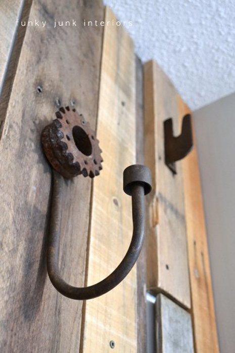 Regular hooks?! Not a chance. :) I just shopped the garage and found a bunch of cool stuff that could hang and called it done.