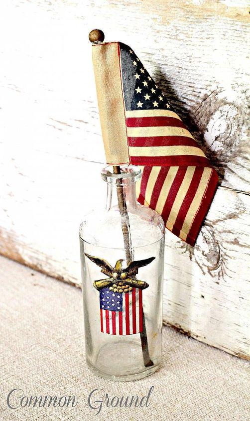 patriotic vintage bottles, crafts, patriotic decor ideas, repurposing upcycling, seasonal holiday decor