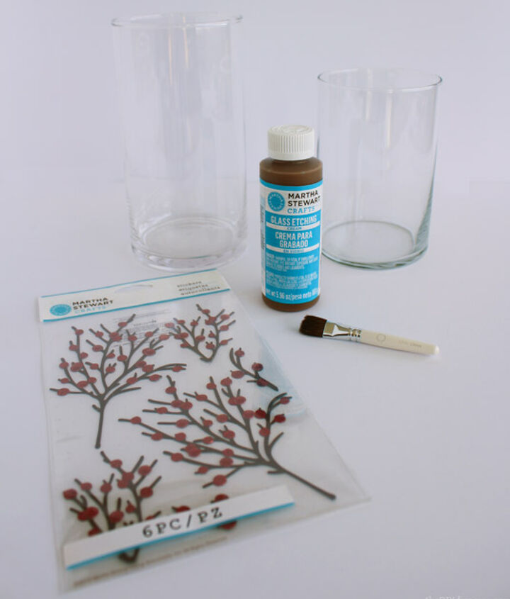 Supplies: Vase, Glass Etching Cream, Brush, Plastic Gloves and Stickers.
