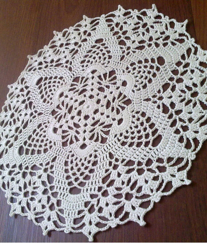white round crochet doily, crafts, home decor