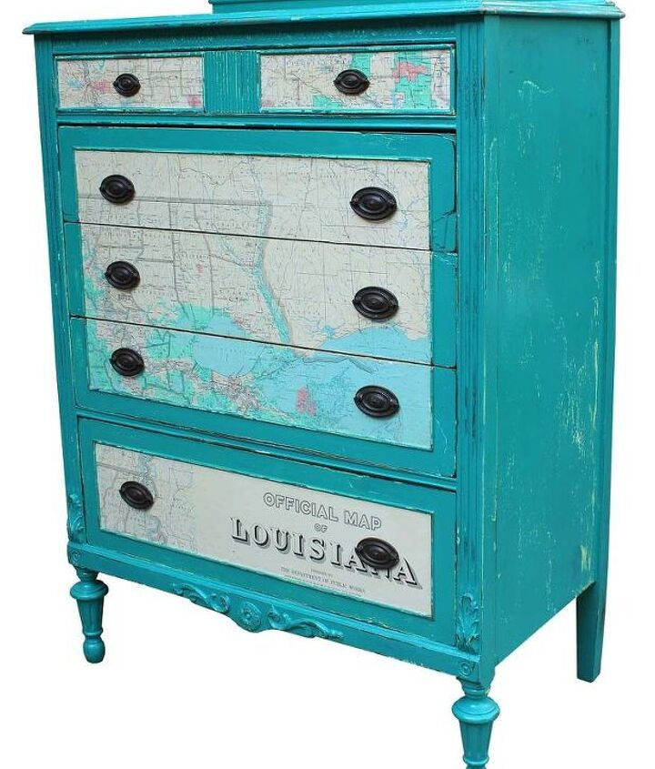 """After removing the veneer and doing some repair and reinforcements, I began the painting process with two coats of off-white and then two coats of a teal color called """"Florence"""" that is an Annie Sloan chalk paint."""