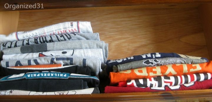 You can see every shirt now and there is much  more room after folding the shirts (tips in link) and filing rather than stacking the shirts.  No items were purged.  The extra room is from better folding and filing.