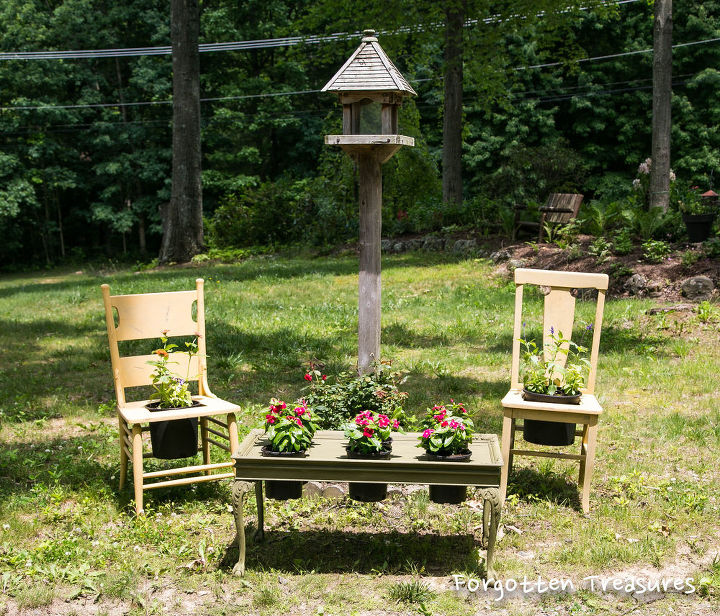 beaten up chairs and coffee table become flower seating area, flowers, gardening, repurposing upcycling
