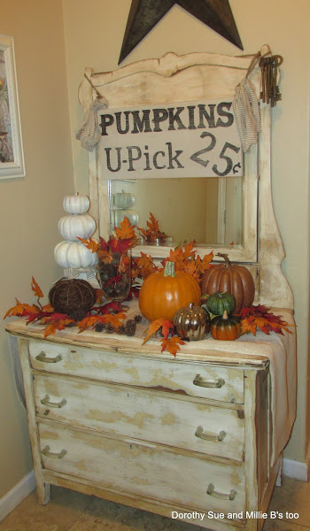 Furniture Makeover and Fall Decor from: http://dorothysueandmillieb.blogspot.com/2013/09/u-pick-pumpkins-hand-painted-sign-and.html