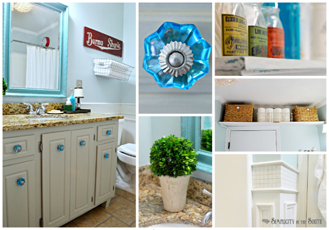 a vintage-inspired guest bathroom